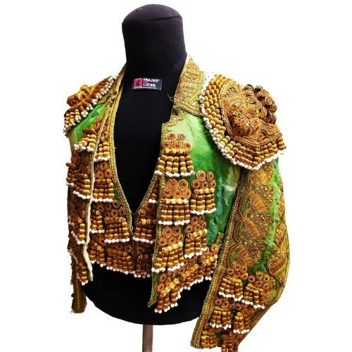 Costume antique de torero vert et or